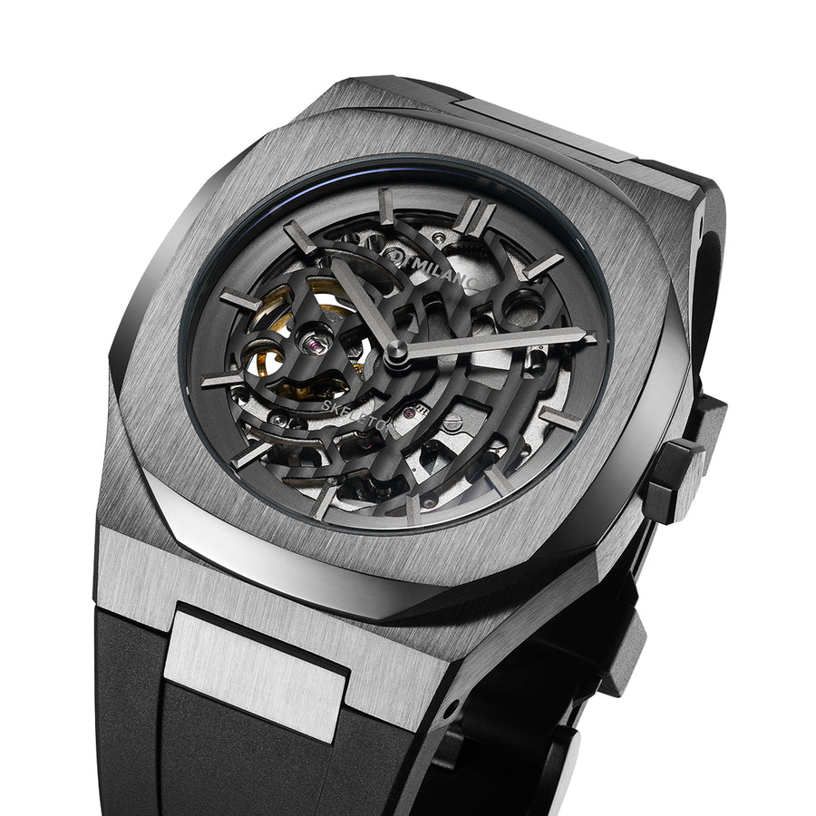 D1 Milano Gun Metal Skeleton Rubber 41.5mm Top View