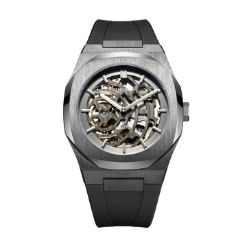 D1 Milano Gun Metal Skeleton Rubber 41.5mm Front View