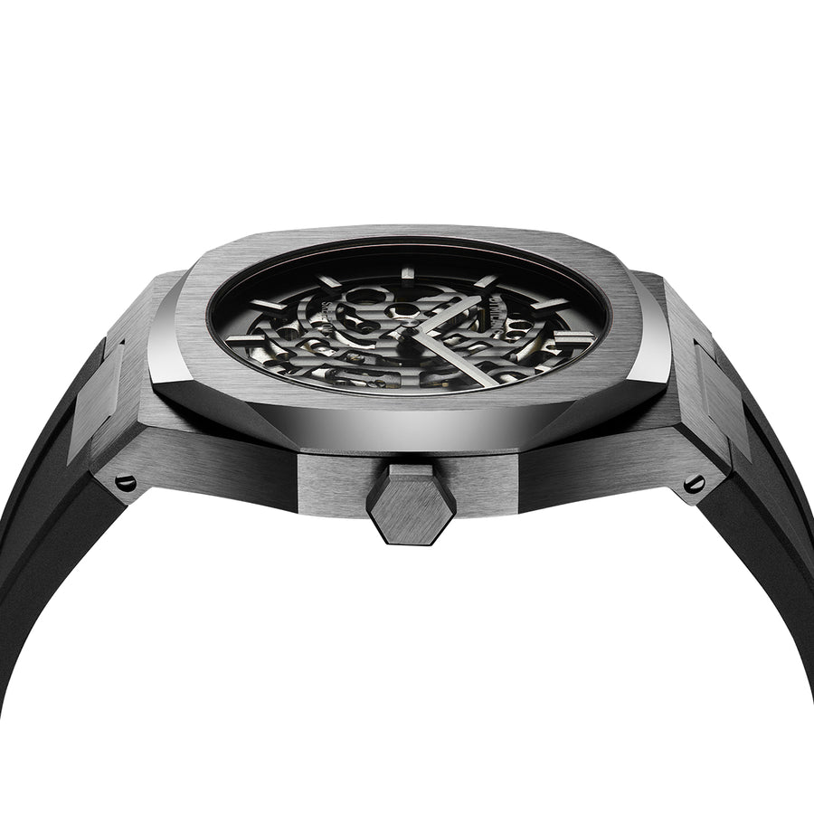 D1 Milano Gun Metal Skeleton Rubber 41.5mm Side View