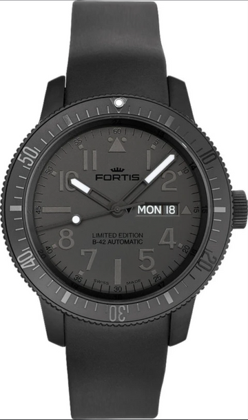 Fortis B-42 Black Black Day/Date Automatic Limited Edition 42mm front view