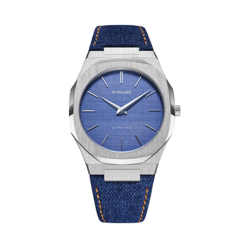 D1 Milano Evergreen Ultra Thin Classic Denim 40mm Front View