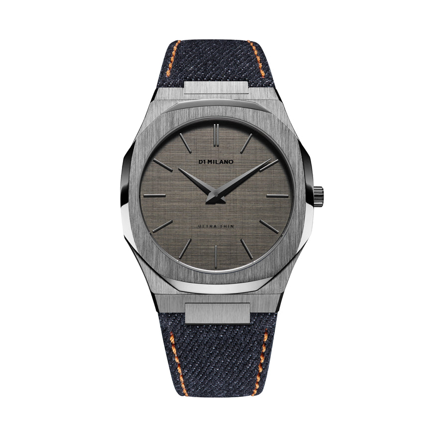 D1 Milano Grunge Ultra Thin Classic Denim 40mm Front View