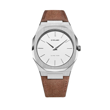 D1 Milano Watch Espresso Ultra Thin Classic Suede 40mm Front View