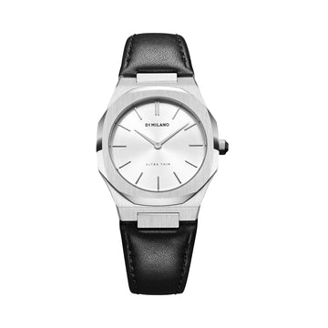 D1 Milano Pearl Ultra Thin Classic Leather 34mm Front View