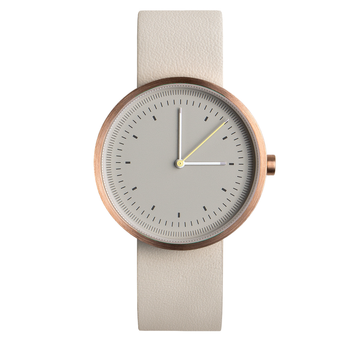AÃRK INTERVAL ROSE STEEL LEATHER 36MM