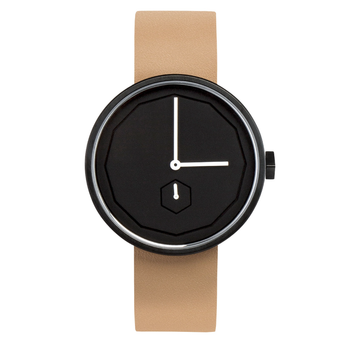 AÃRK CLASSIC NEU BLACK STEEL LEATHER 38MM