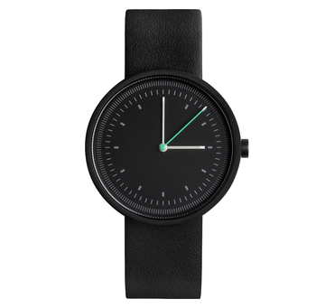 AÃRK INTERVAL BLACK STEEL LEATHER 36MM