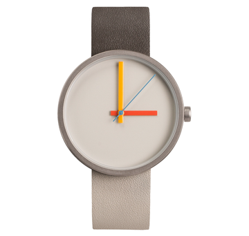 AÃRK MULTI NOON GREY STEEL LEATHER 38MM