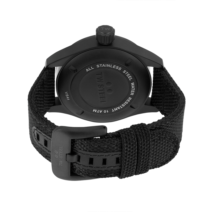 TW Steel Black Textile Volante 45mm back view
