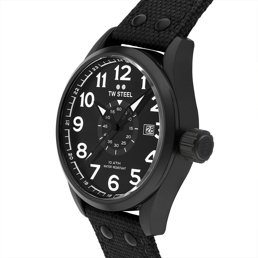 TW Steel Black Textile Volante 45mm side view