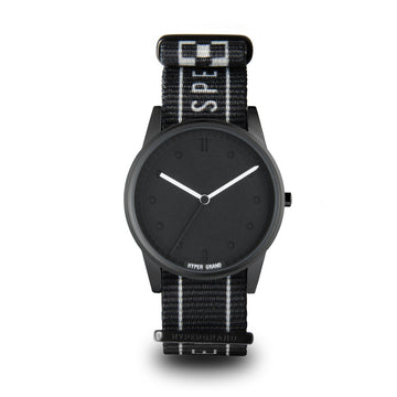 Hypergrand 01NATO Blackout Warp Race Black 38mm Front View