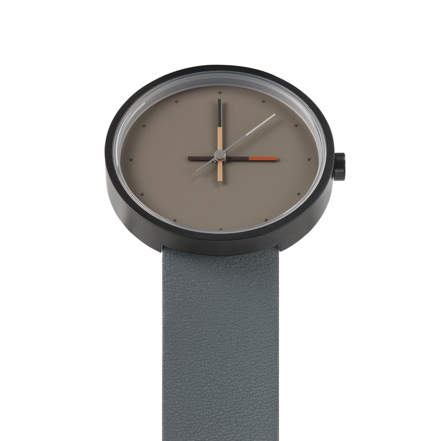 AÃRK Collective Accent Ash Grey Steel Leather 36mm Top View 3