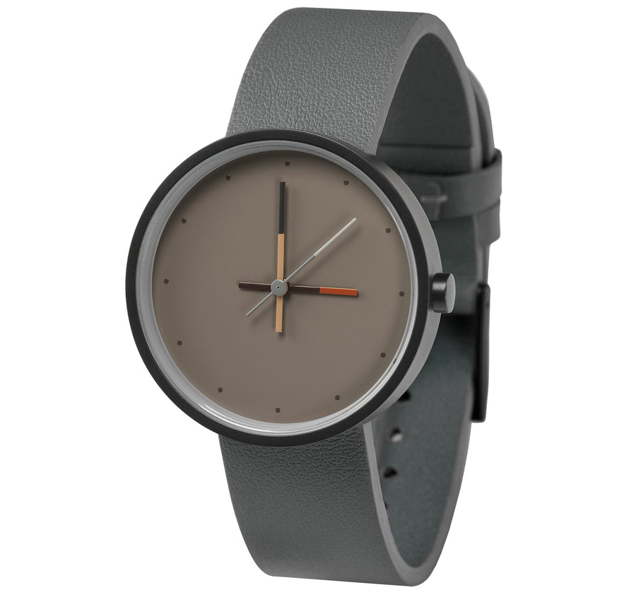 AÃRK Collective Accent Ash Grey Steel Leather 36mm Side View