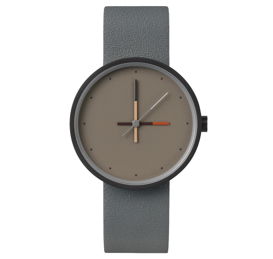 AÃRK Collective Accent Ash Grey Steel Leather 36mm Front View