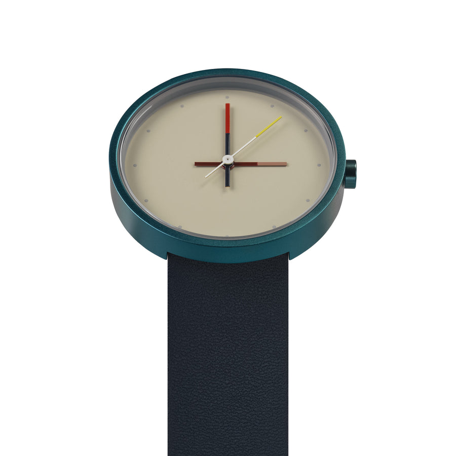 AÃRK Collective Accent Reef Blue Steel Leather 36mm Top View