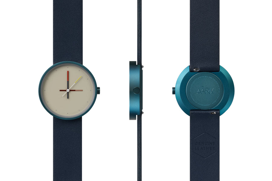 AÃRK Collective Accent Reef Blue Steel Leather 36mm Full View