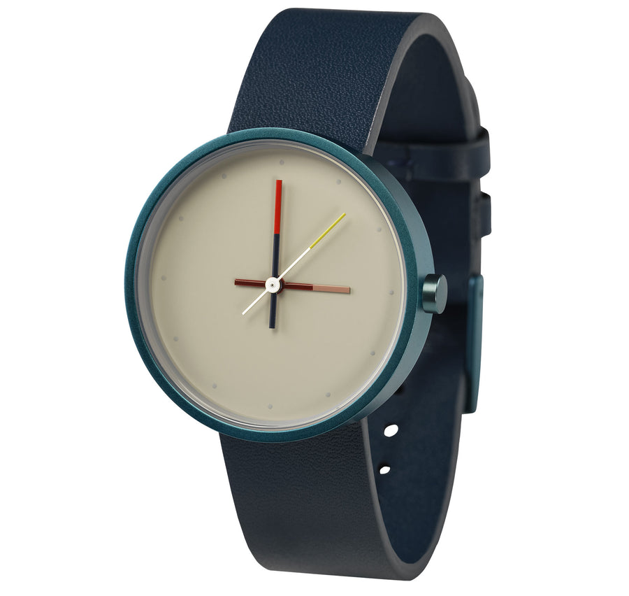 AÃRK Collective Accent Reef Blue Steel Leather 36mm Side View