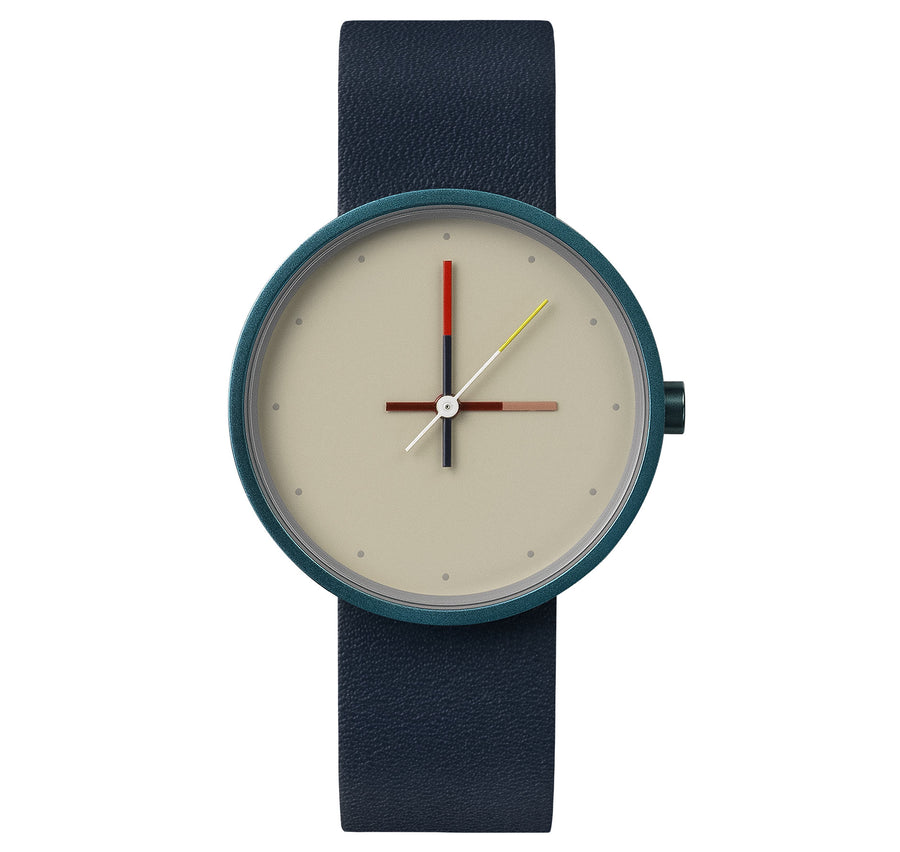AÃRK Collective Accent Reef Blue Steel Leather 36mm Front View