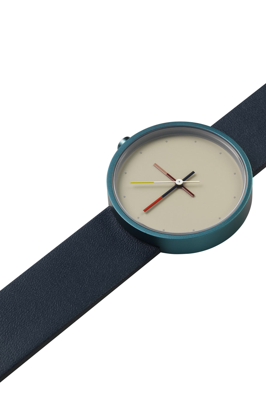 AÃRK Collective Accent Reef Blue Steel Leather 36mm Top View 3