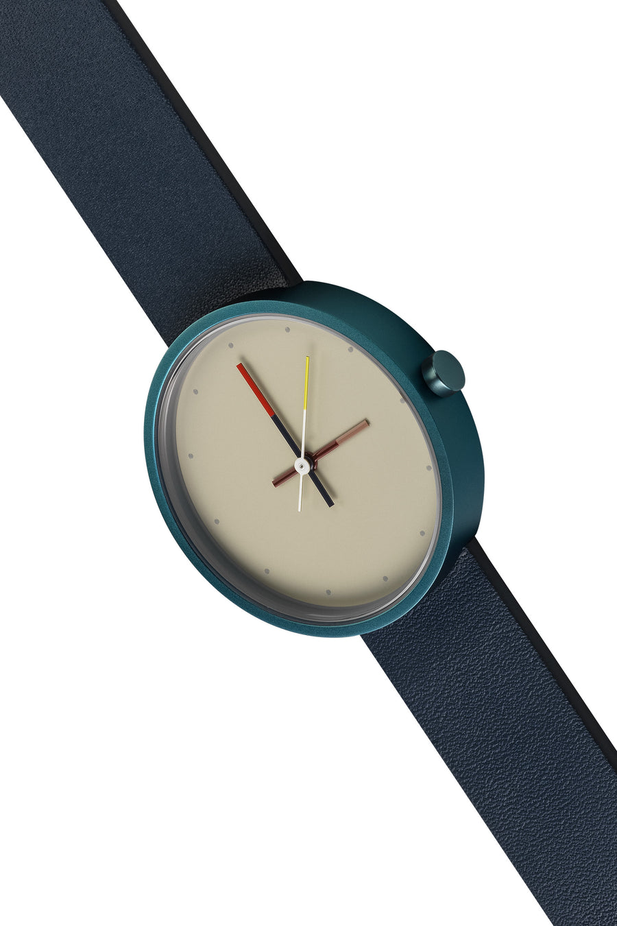 AÃRK Collective Accent Reef Blue Steel Leather 36mm Top View 2