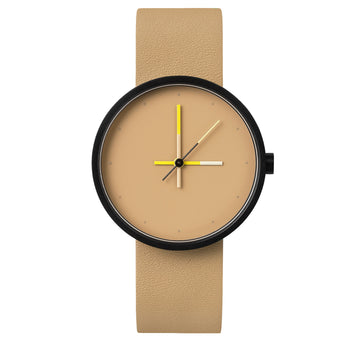 AÃRK Collective Accent Sand Black Steel Leather 36mm Front View