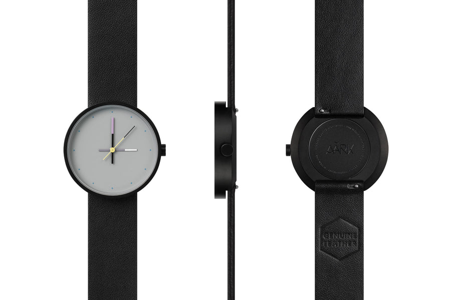 AÃRK Collective Accent Sky Black Steel Leather 36mm Full View