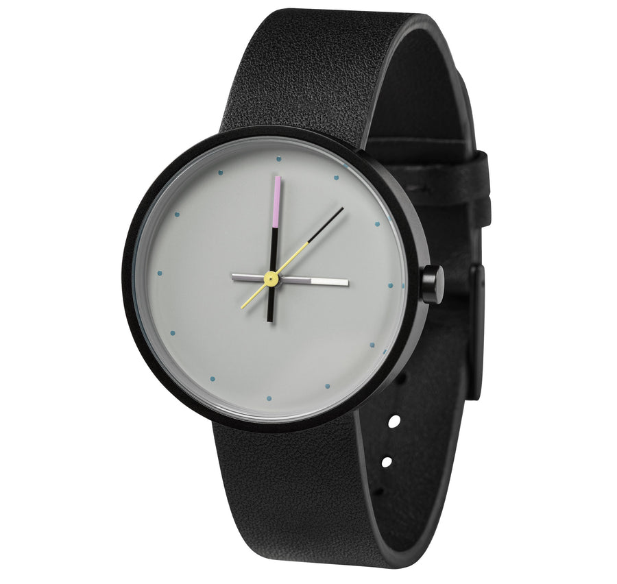 AÃRK Collective Accent Sky Black Steel Leather 36mm Side View