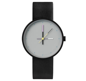 AÃRK Collective Accent Sky Black Steel Leather 36mm Front View