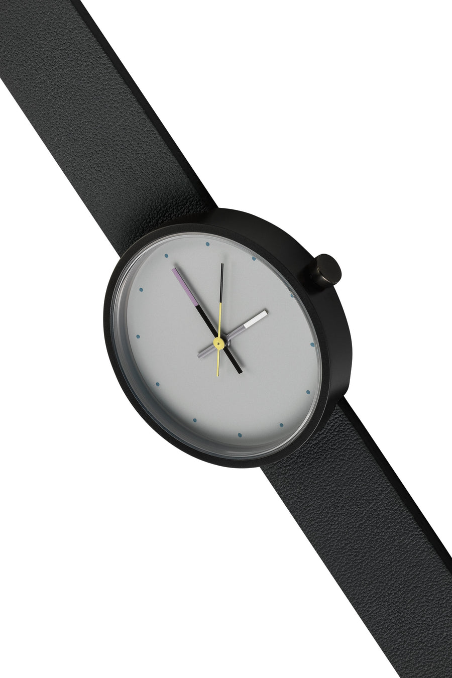 AÃRK Collective Accent Sky Black Steel Leather 36mm Top View
