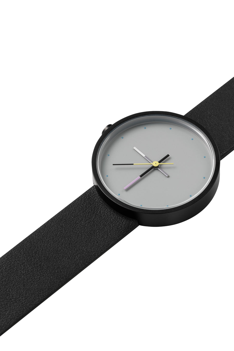 AÃRK Collective Accent Sky Black Steel Leather 36mm Top View 2