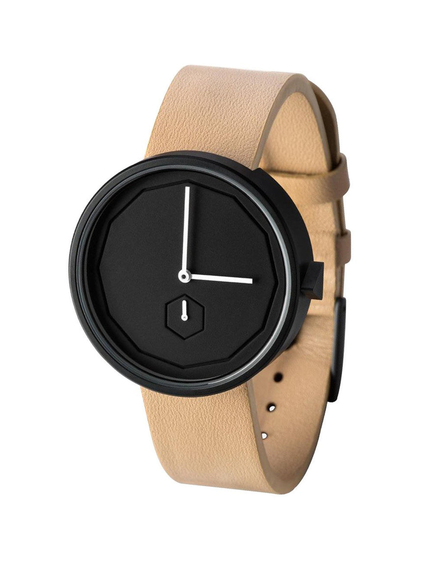 AÃRK Collective Classic Neu Black Steel Leather 38mm Side View