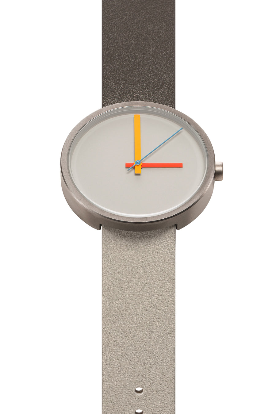 AÃRK Collective Multi Noon Grey Steel Leather 38mm Top View