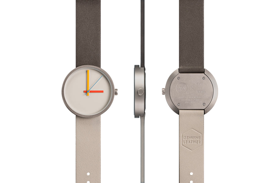 AÃRK Collective Multi Noon Grey Steel Leather 38mm Full View