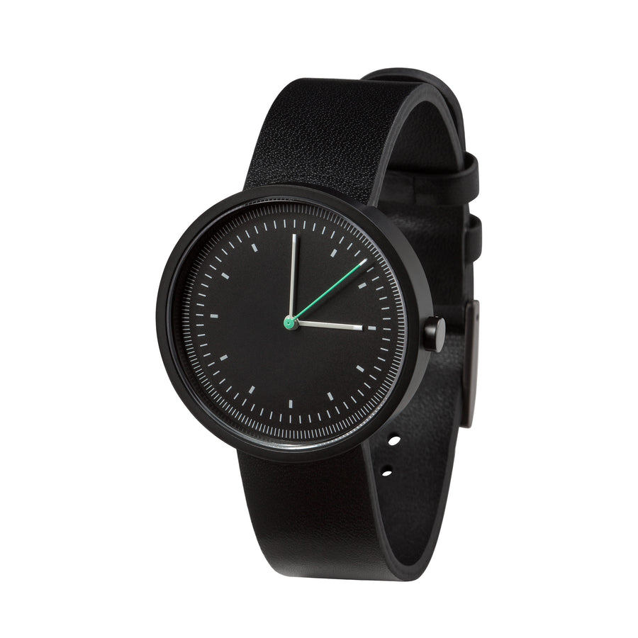 AÃRK Collective Interval Black Steel Leather 36mm Side View