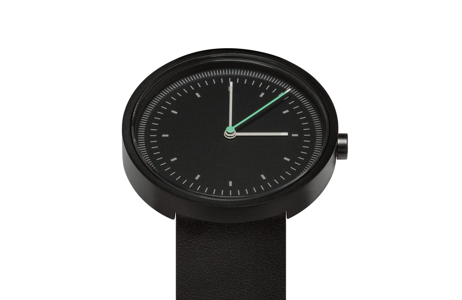 AÃRK Collective Interval Black Steel Leather 36mm Top View 2
