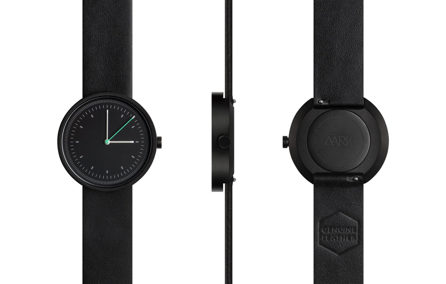 AÃRK Collective Interval Black Steel Leather 36mm Full View