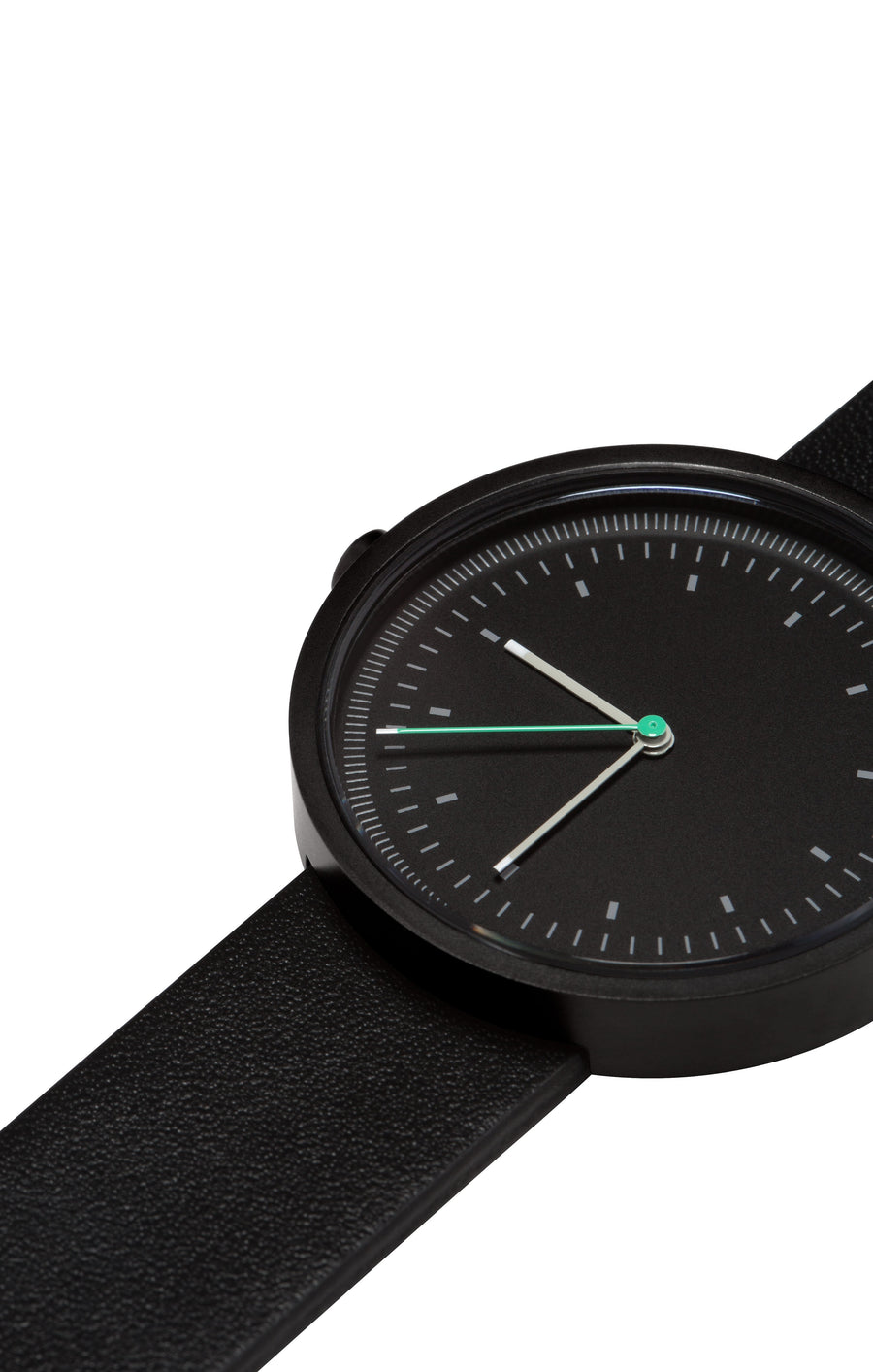 AÃRK Collective Interval Black Steel Leather 36mm Close-up View
