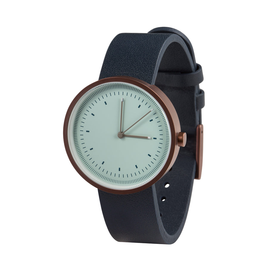 AÃRK Collective Interval Bronze Steel Leather 36mm Side View