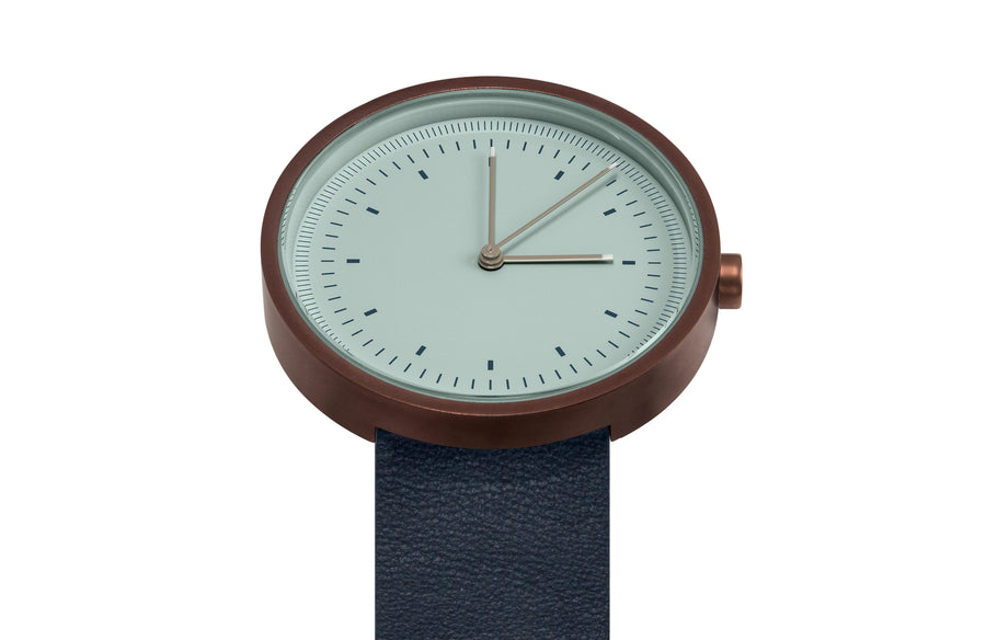 AÃRK Collective Interval Bronze Steel Leather 36mm Top View 1