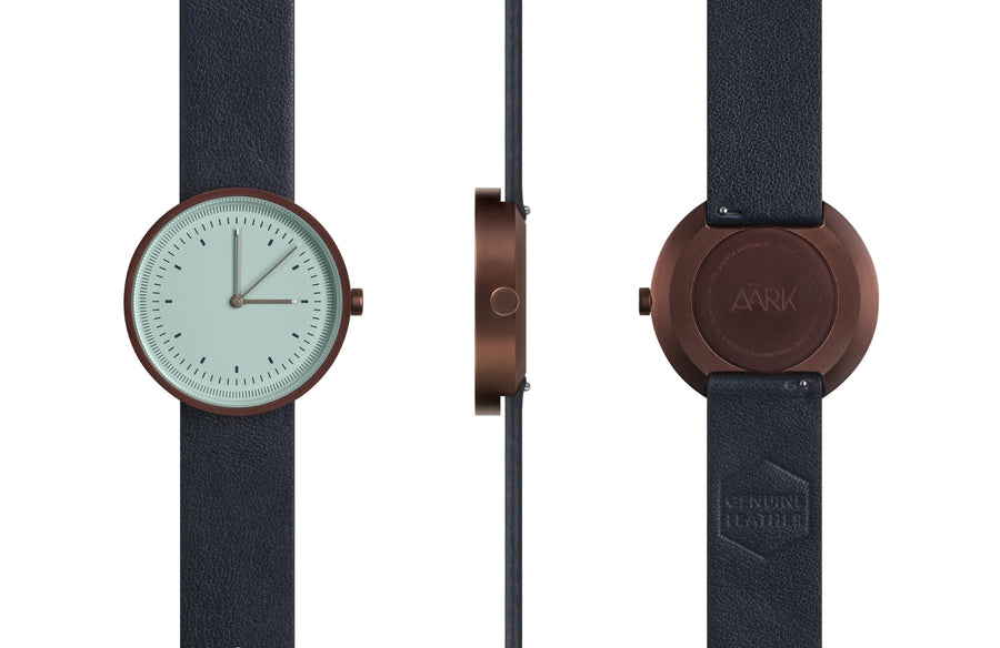 AÃRK Collective Interval Bronze Steel Leather 36mm Full View