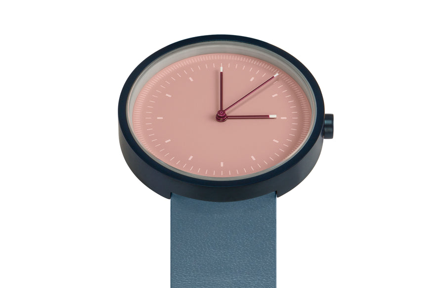 AÃRK Collective Interval Navy Steel Leather 36mm Top View