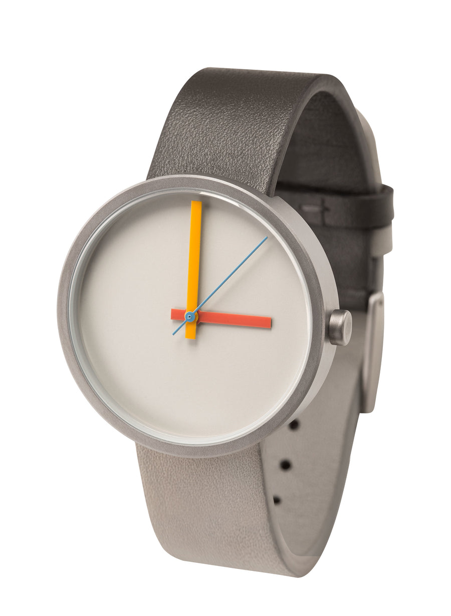 AÃRK Collective Multi Noon Grey Steel Leather 38mm Side View