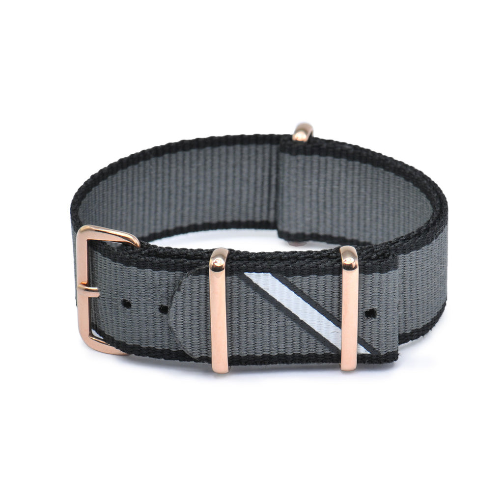 Straight Jacquard Grey Rose Gold Buckle