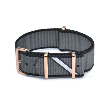 Hypergrand, Straight Jacquard Grey Rose Gold Buckle