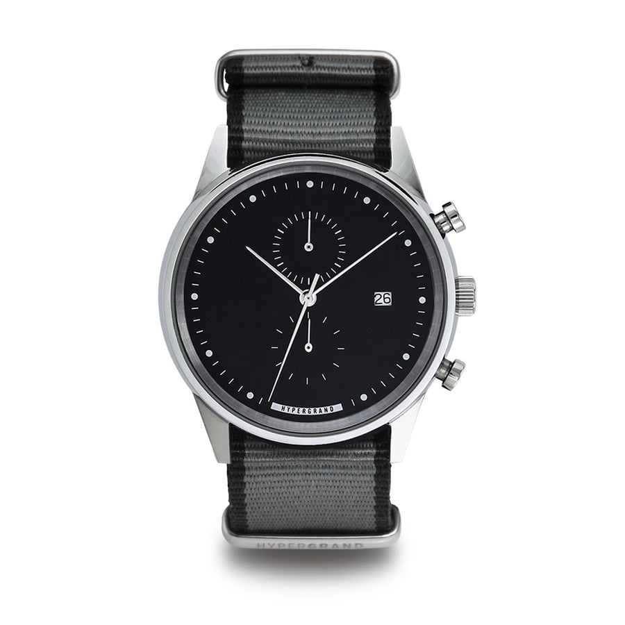 Hypergrand Watch, Chrono SilverBlack - Straight Jacquard Grey, Front View