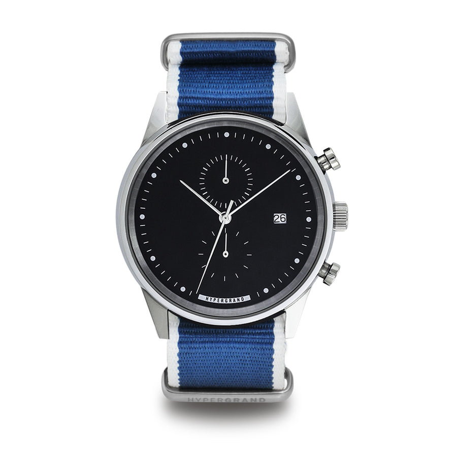 Hypergrand Watch, Chrono SilverBlack - Straight Jacquard Blue, Front View