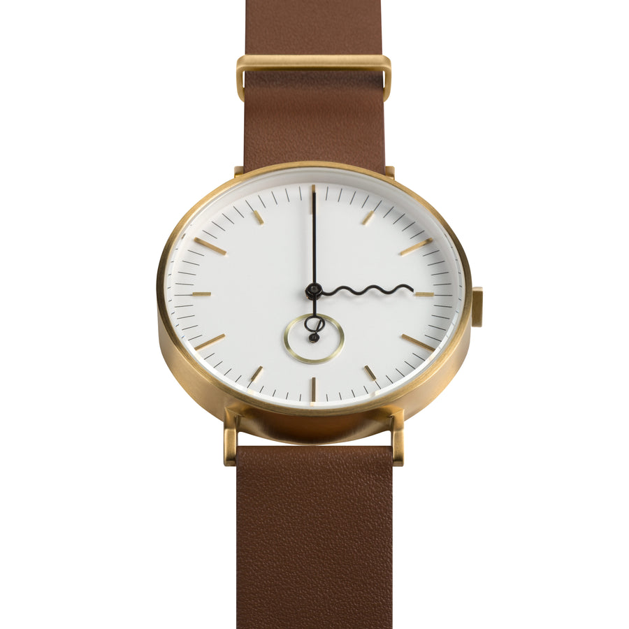 AÃRK Collective Tide Neu Gold Steel Leather 38mm Top View
