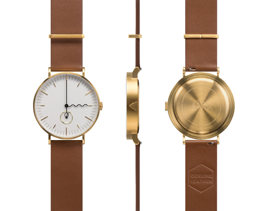 AÃRK Collective Tide Neu Gold Steel Leather 38mm Full View