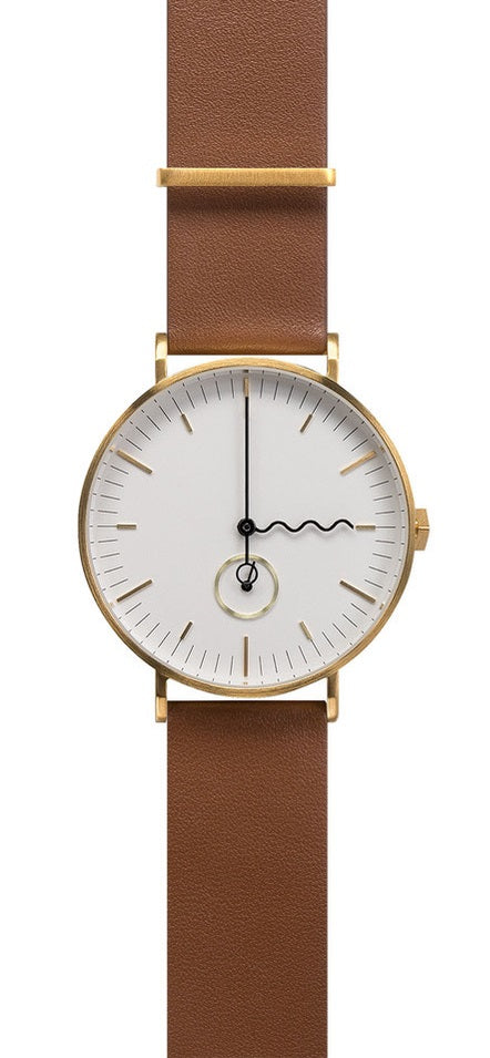 AÃRK Collective Tide Neu Gold Steel Leather 38mm Top View 2