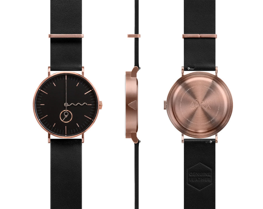 AÃRK Collective Tide Neu Rose Steel Leather 38mm Full View